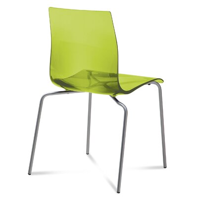 Gel Dining Chair (Set of 2) Finish: Transparent Green, Frame Finish: Metal