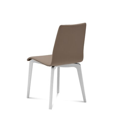 Jude-L Dining Chair (Set of 2) Upholstery: Taupe, Frame Finish: White Mat Lacquered