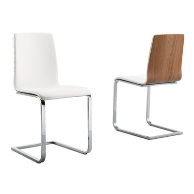 Schmertz Upholstered Dining Chair Upholstery: White, Walnut, Finish: Chrome