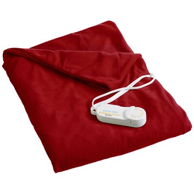 Comfort Knit Heated Polyester Throw Color: Brick