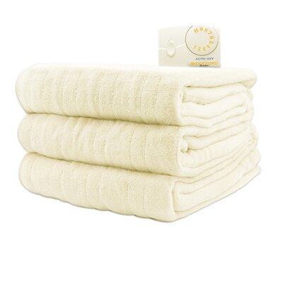 Comfort Knit Heated Blanket Color: Natural, Size: Full