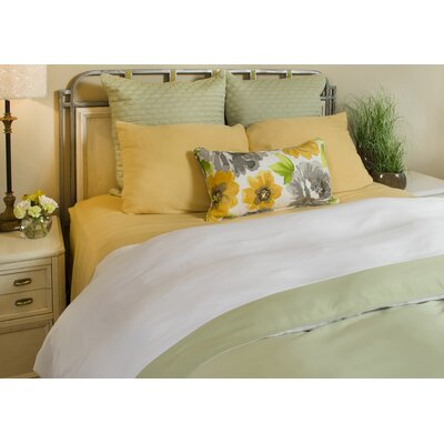 Conrad Rayon from Bamboo Duvet Cover Size: King, Color: White / Sage