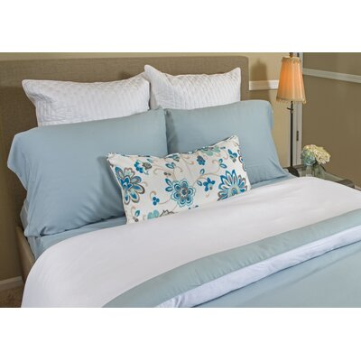 Conrad Rayon from Bamboo Duvet Cover Color: Sky/White, Size: King