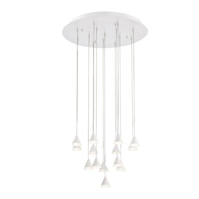 Albion 14-Light LED Cascade Pendant Finish: White