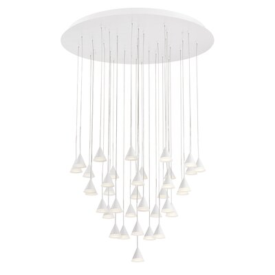 Albion 36-Light LED Cascade Pendant Finish: White