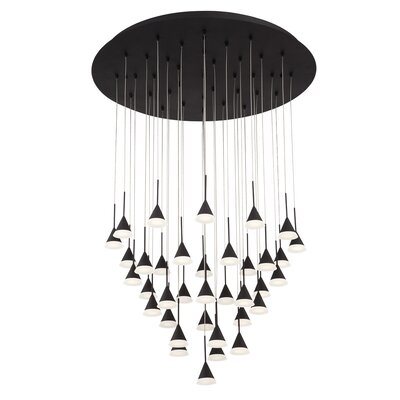 Albion 36-Light LED Cascade Pendant Finish: Black