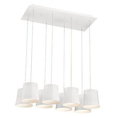 Borto 8-Light Kitchen Island Pendant Finish: White
