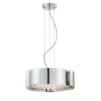 Dervish 3 Light Drum Pendant Finish: Chrome, Shade: Frosted White Glass