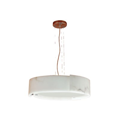 Dervish 5-Light Drum Pendant Shade: Frosted White Glass, Finish: Satin Nickel