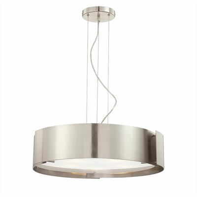 Dervish 5-Light Drum Pendant Finish: Satin Nickel, Shade: Frosted White Glass