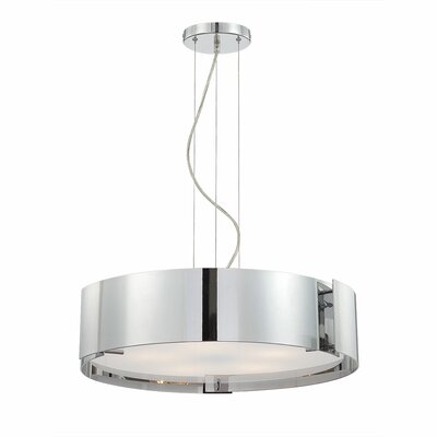 Dervish 5-Light Drum Pendant Finish: Chrome, Shade: Frosted White Glass