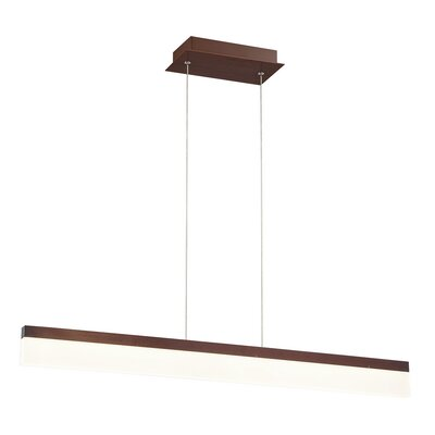 Elinore Minimalist Opal Linear 1-Light Aluminum Kitchen Island Pendant Finish: Bronze