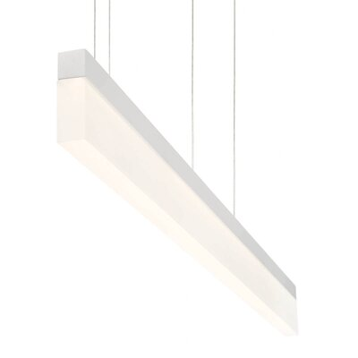 Elinore Minimalist Opal Linear 1-Light Aluminum Kitchen Island Pendant Finish: White