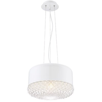 Brinn 1-Light Drum Pendant Finish: White, Size: 9.75 H x 14 W x 14 D