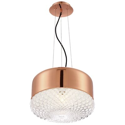 Brinn 1-Light Drum Pendant Finish: Rose Gold, Size: 9.75 H x 14 W x 14 D