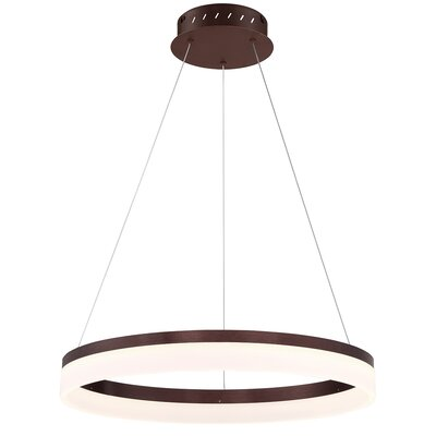 Clarisa Frosted 1-Light LED Drum Pendant Finish: Bronze, Size: 76.75 H x 23.25 W x 23.25 D
