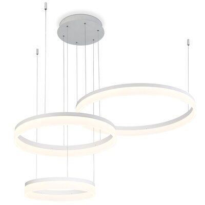 Clarisa Frosted 3-Light LED Drum Chandelier Finish: Sand White