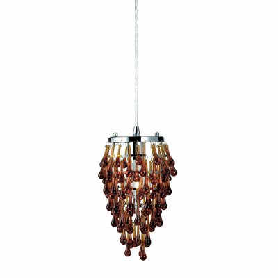 Vidal 1-Light Geometric Pendant Shade Color: Amber Crystal