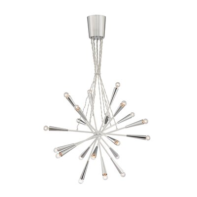 Zazu 20-Light Cluster Pendant Shade Color: White / Clear Wire