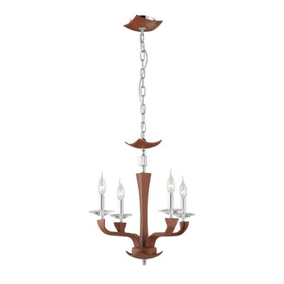 Pella 4-Light Candle-Style Chandelier Shade Color: Brown (Lichee)