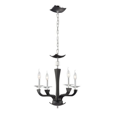 Pella 4-Light Candle-Style Chandelier Shade Color: Black (Lichee)