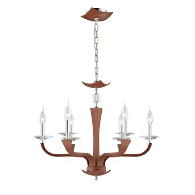 Pella 6-Light Candle-Style Chandelier Shade Color: Brown (Lichee)