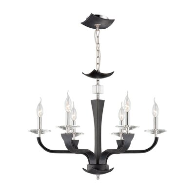 Pella 6-Light Candle-Style Chandelier Shade Color: Black (Lichee)