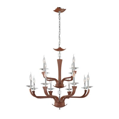 Pella 12-Light Candle-Style Chandelier Finish: Brown (Lichee)