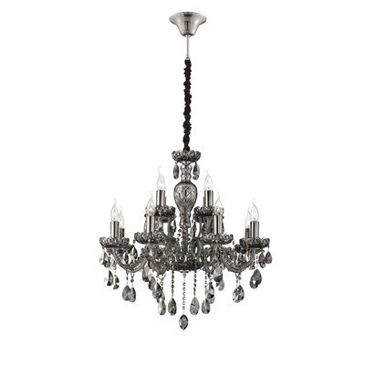 Providence 12-Light Crystal Chandelier Finish: Smoke
