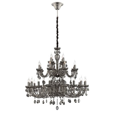 Providence 28-Light Crystal Chandelier Finish: Smoke