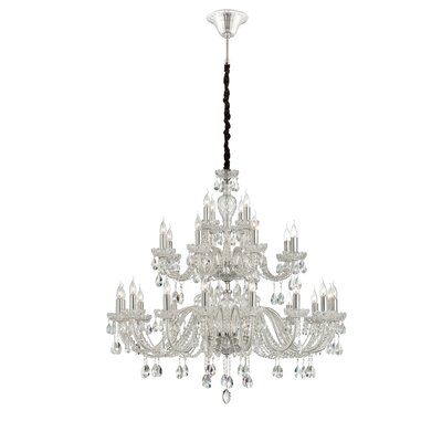 Providence 28-Light Crystal Chandelier Finish: Clear