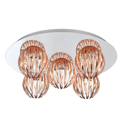 Cosmo 5-Light Flush Mount Shade Color: Amber