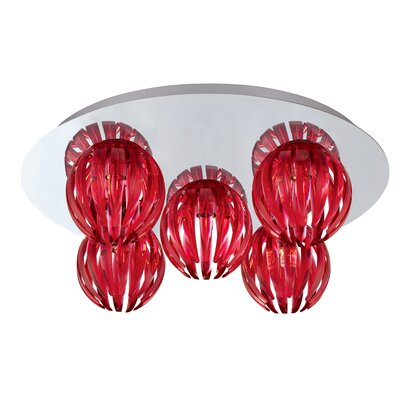 Cosmo 5-Light Flush Mount Shade Color: Red