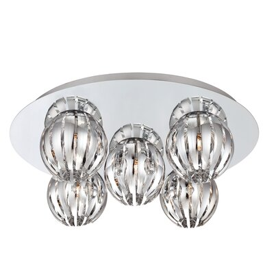Cosmo 5-Light Flush Mount Shade Color: Chrome