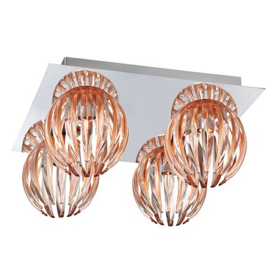 Cosmo 4-Light Flush Mount Shade Color: Amber