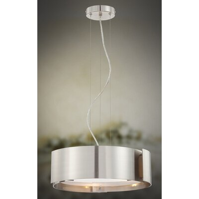 Dervish 3 Light Drum Pendant Finish: Satin Nickel, Shade: Frosted White Glass