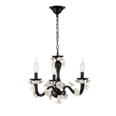 Martina 3-Light Candle-Style Chandelier Finish: Black/White