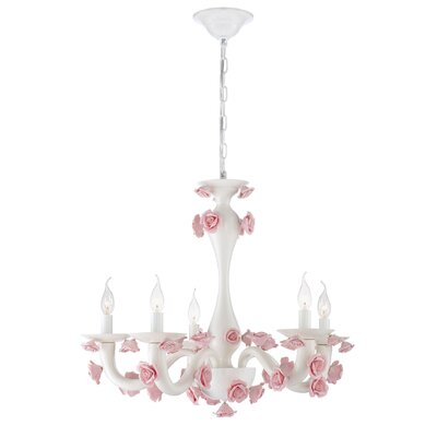 Martina 5-Light Candle-Style Chandelier Finish: White/Pink
