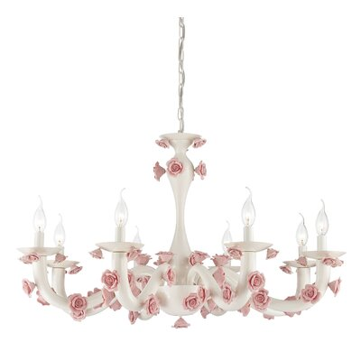 Martina 8-Light Candle-Style Chandelier Finish: White/Pink