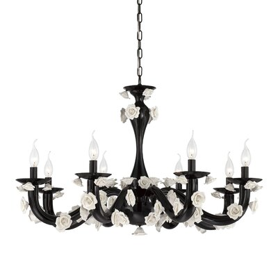 Martina 8-Light Candle-Style Chandelier Finish: Black/White