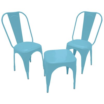 Leigh Classique 3 Piece Bistro Set Finish: Blue
