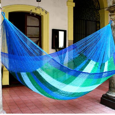 Maya Artists of the Yucatan Nylon Tree Hammock Color: Sea Breeze, Size: 7.2 X 12.8