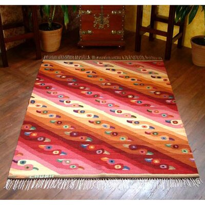 Artisan Crafted Animal Themed Royal Flamingos Hand Loomed South American Naturally Dyed Wool Home Decor Area Rug Rug Size: 311 x 52