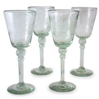 crystal Flowers Wine Glasses  (set Of 4)