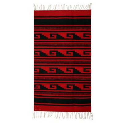 Alberto Ruiz Hand Woven Wool Red Area Rug Rug Size: 2 x 34