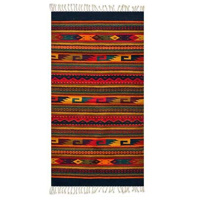 Artisan Crafted Multicolor Fiesta Hand Woven Mexican Naturally Dyed Wool Home Decor Area Rug Rug Size: Rectangle 27 x 411