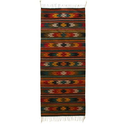 Artisan Crafted Multicolor Star Themed Hand Woven Mexican Naturally Dyed Wool Home Decor Area Rug Rug Size: Runner 26 x 66
