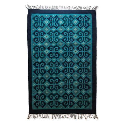 Hand-Crafted Blue Area Rug