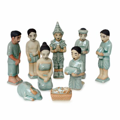 9 Piece Celadon Nativity Scene Set
