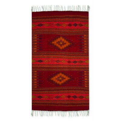 Floral Dyes Hand-Woven Red Area Rug